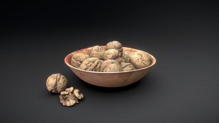 Walnuts in a wooden bowl 3D Model