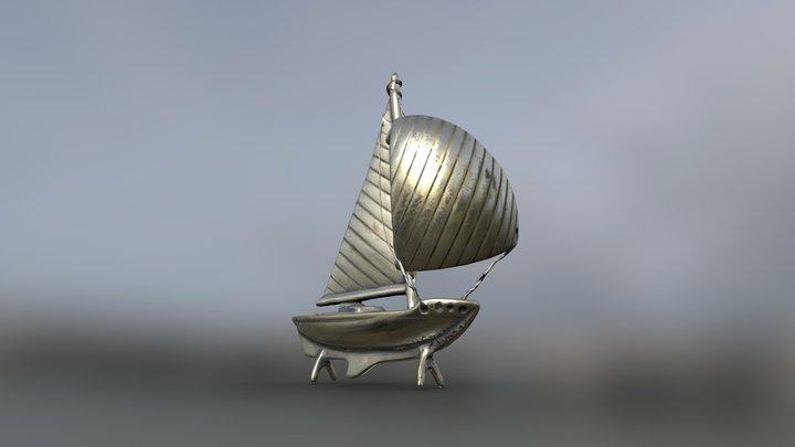 Silver Sailboat 3D Model
