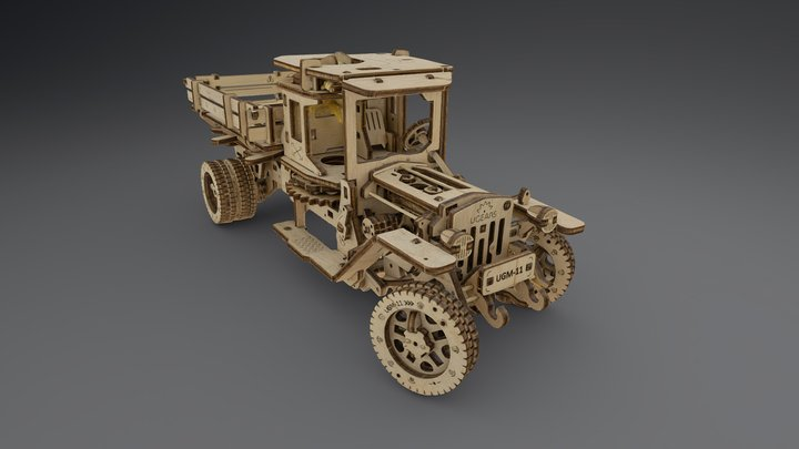 Plywood car 3D Model
