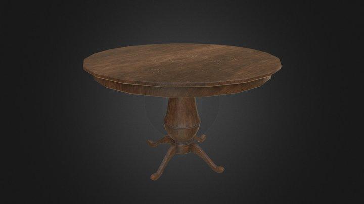 Vintage Wooden Table 3D Model