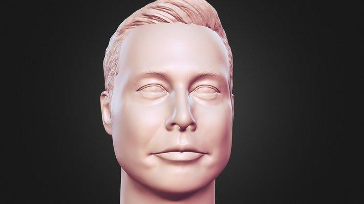 Elon Musk 3d Printable portrait sculpture 3D Model