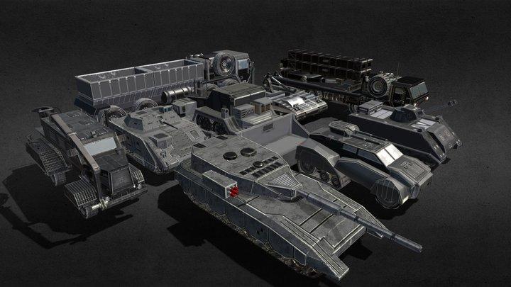 Vehicles for War Gold Pack 3D Model