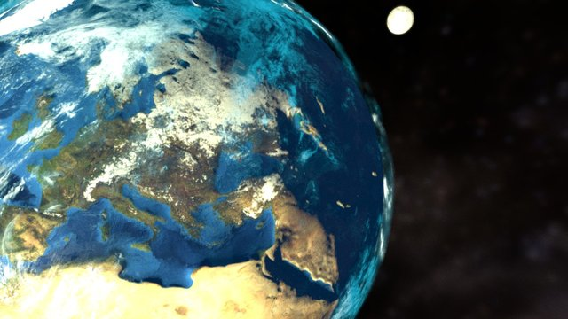 Earth and Moon(Animated) 3D Model