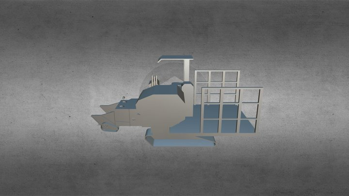 Mô hình 3D trưng bày triển lãm - Máy cuốn rơm 3D Model