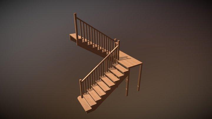Деревянная лестница (П-образная 180°) 3D Model