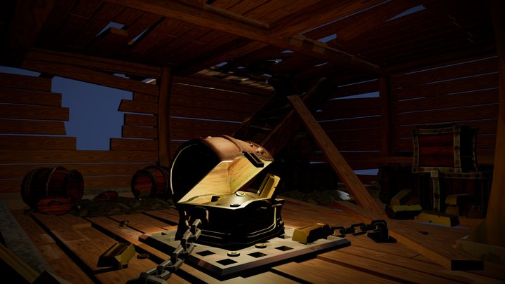 Stylised Ship Interior 3D Model