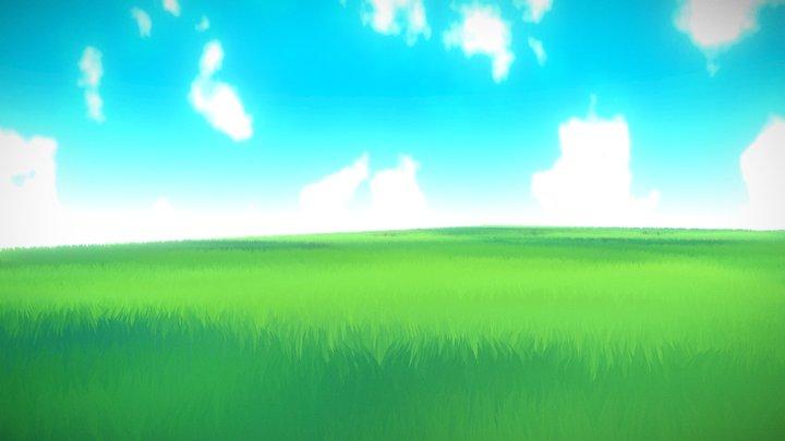 Anime - Toon Grassfield Landscape 3D Model