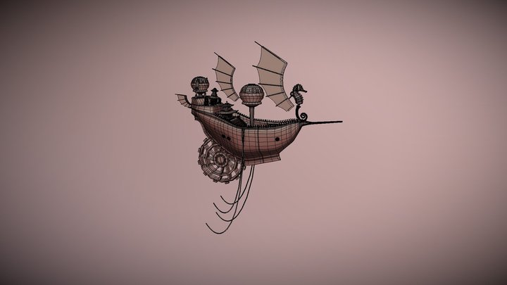 Steampunk Airship without textures 3D Model
