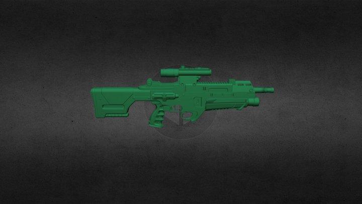 Rifle Hi-Poly 01: Blender Practice 3D Model