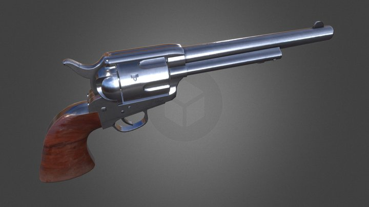 Single Action Army Revolver, UE4 Asset 3D Model