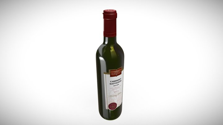 Bottle of Wine Cabernet Sauvignon Oak aged 3D Model