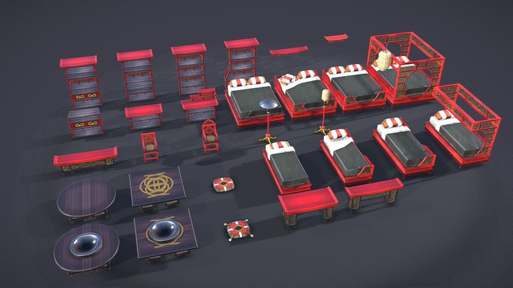 Lowpoly Asian Home Pack 3D Model