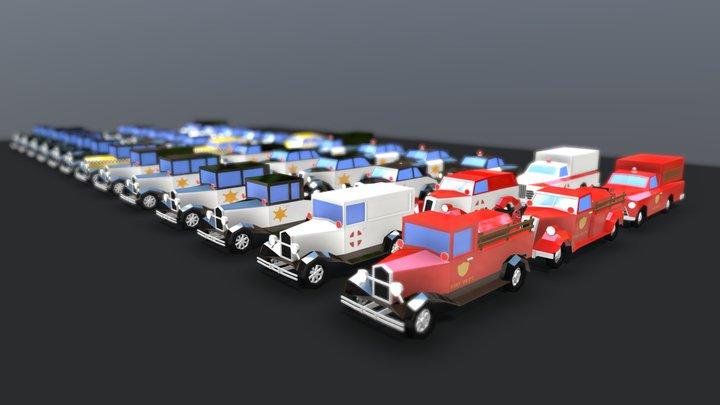 Lowpoly Simple Vintage Car Pack 3D Model
