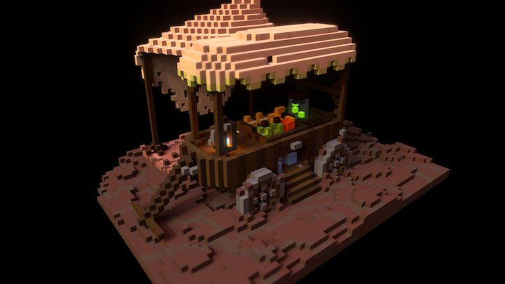 Wagon of Exotic Goods 3D Model