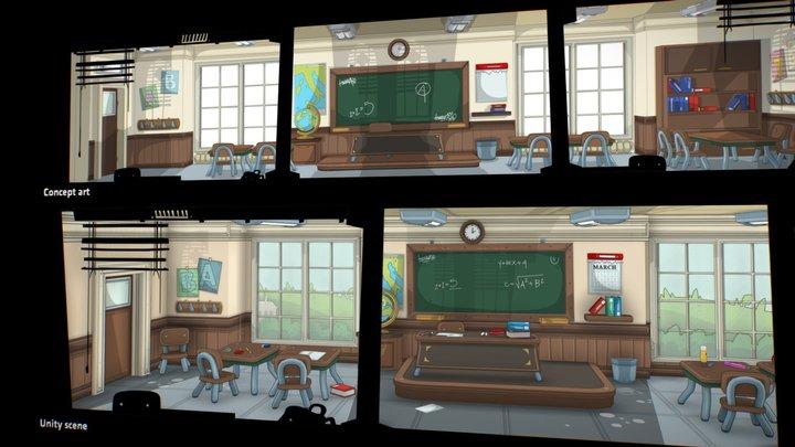 Toon Classroom - School scenario 3D Model