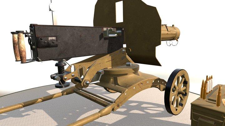Maxim gun - Machine gun 3D Model