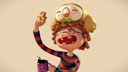 Pokemon Fanart - Rowlet likes cookies 3D Model