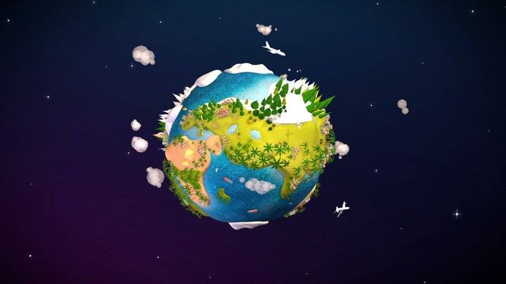 Cartoon Lowpoly Earth Planet 2 UVW textured 3D Model