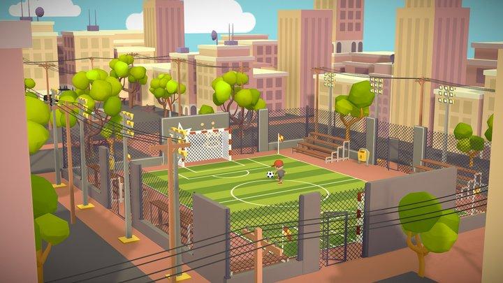 ⚽Soccer football stadium game asset lowpoly city 3D Model