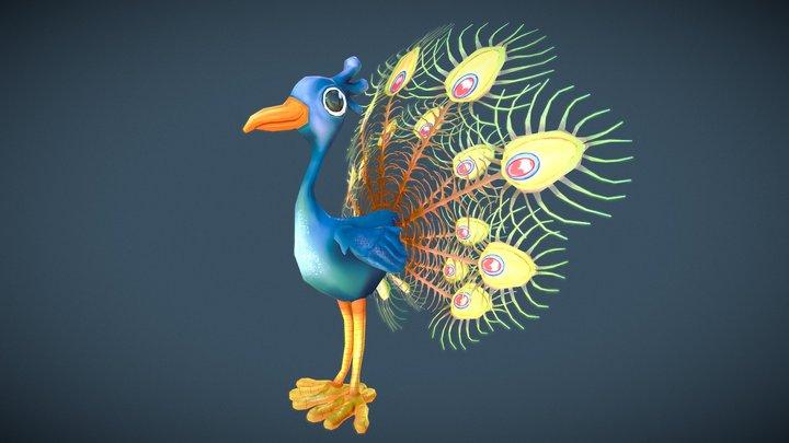 Cartoon Paon // Peacock 3D Model
