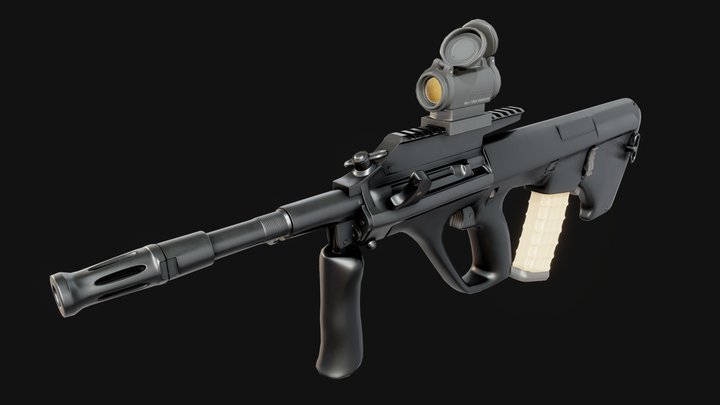 Aug A3 M1with Aimpoint micro T2 3D Model