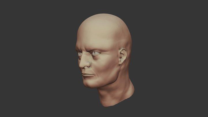 Stylized Male Head 3D Model