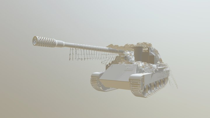 """128mm PaK on Panther """"Skorpion"""" 3D Model"""