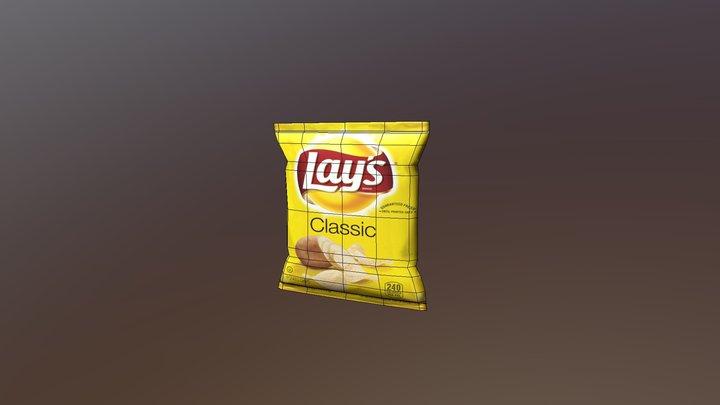 Low Poly Potato Chips Bag 3D Model