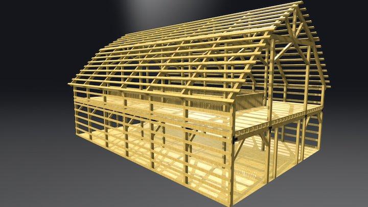 40x60 Gambrel Barn Frame 3D Model