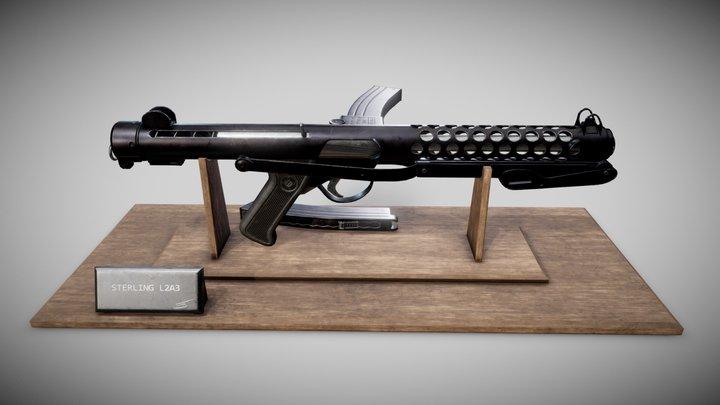 Sterling L2A3 Submachine gun 3D Model
