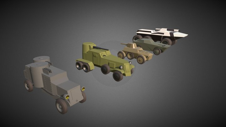 Armored Cars Drafts 3D Model
