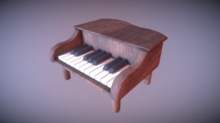 Game Ready Toy Piano Low Poly 3D Model