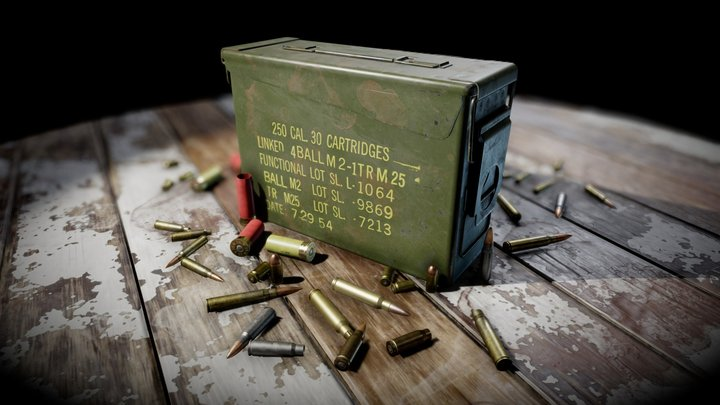 Ammunition Box & Ammunition 3D Model