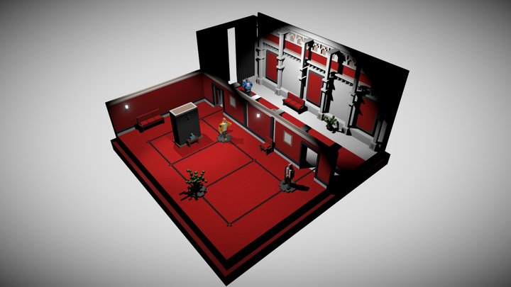 Curtains Down - Hitman Go voxel fan art 3D Model