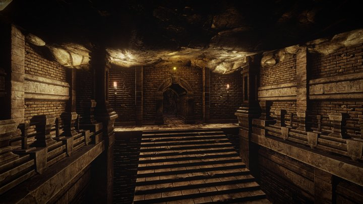 Modular Dungeon Catacombs - Level 2 3D Model