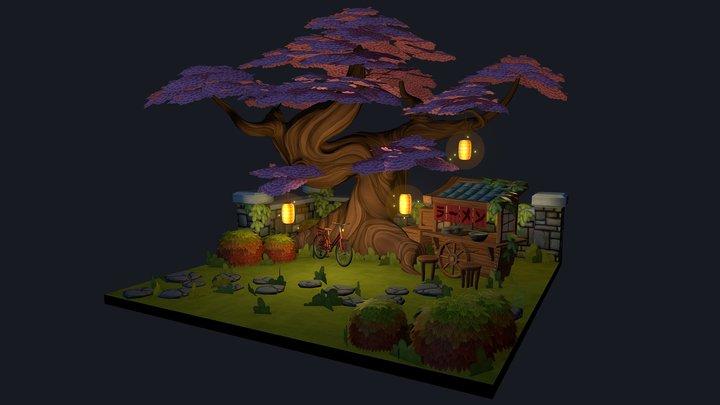 Cherry Blossom Garden 3D Model