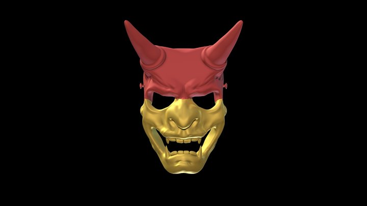 Japanese Demon Mask - Oni 3D Model