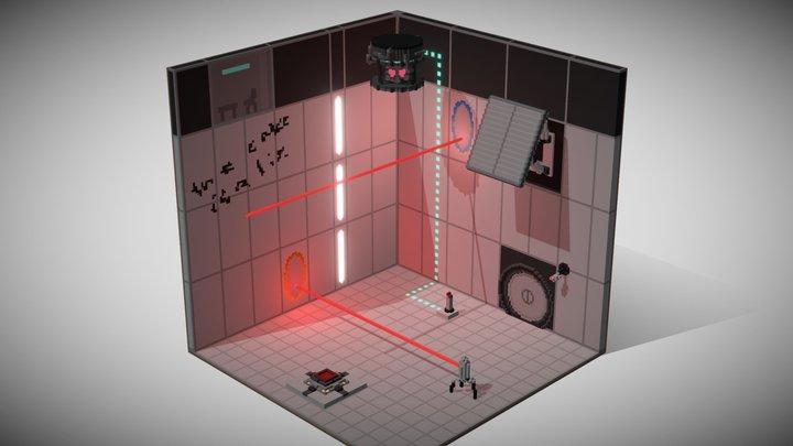 Portal 2 voxel fan art 3D Model