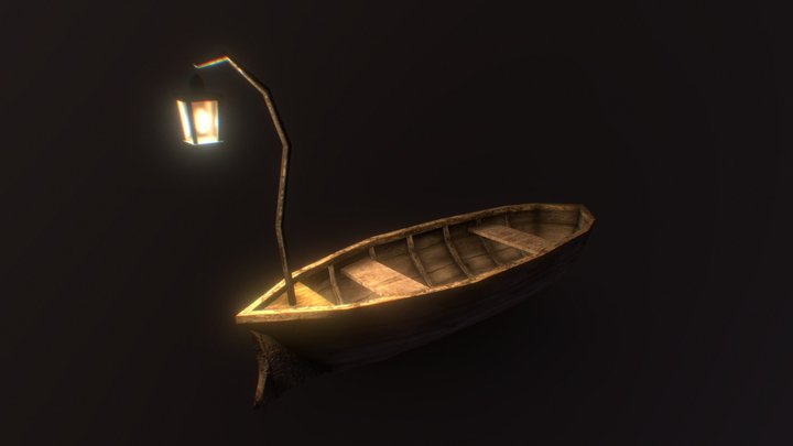 Victorian Row Boat & Lamp - Low Poly 3D Model