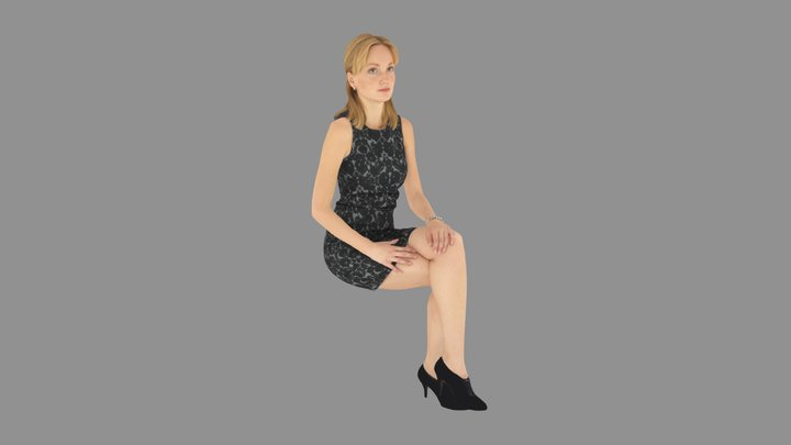 Young Woman Sitting 3D Model