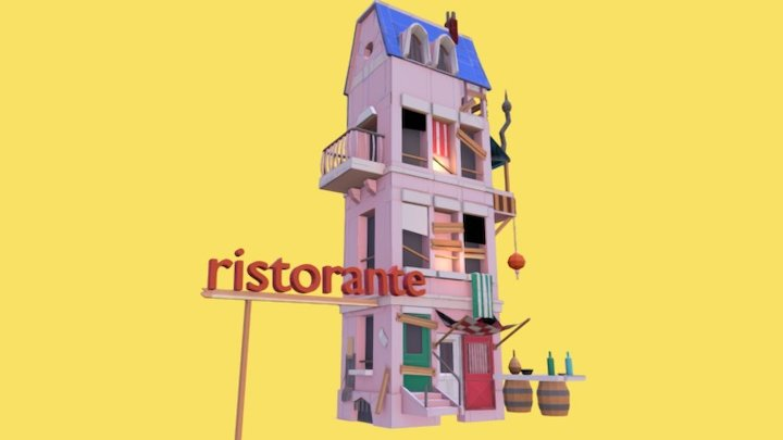 Low Poly Ristorante 3D Model