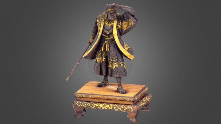 Japanese Miyao bronze sculpture of a Samurai 3D Model