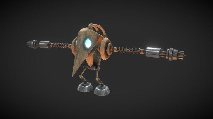 Wooden mechanic character 3D Model