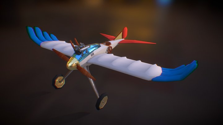 The Wind Rises Airplane - Low Poly 3D Model