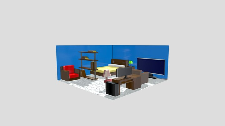 3DRoom Substance Painter Practice 3D Model