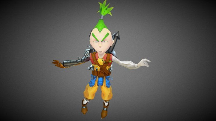 anime style lowpoly game character 3D Model