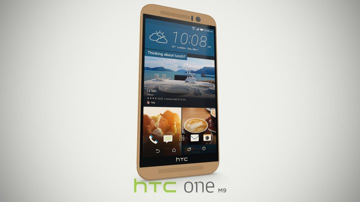 HTC One (M9) Gold on Gold 3D Model