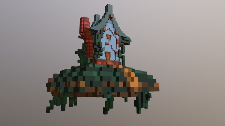 Voxel house with wives 3D Model