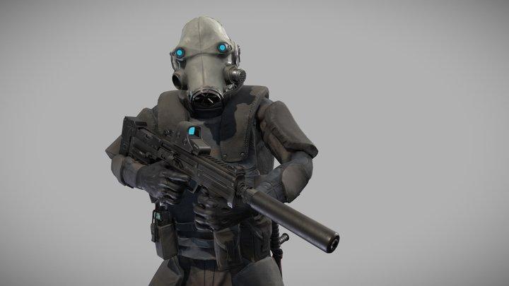 Special forces skifi soldier 3D Model
