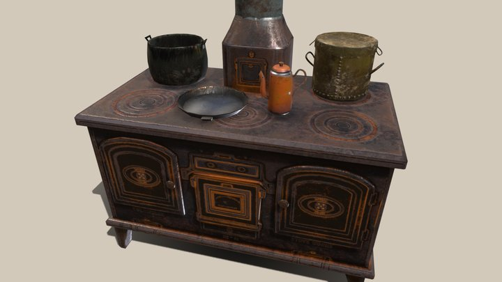 Old stove and pots 3D Model